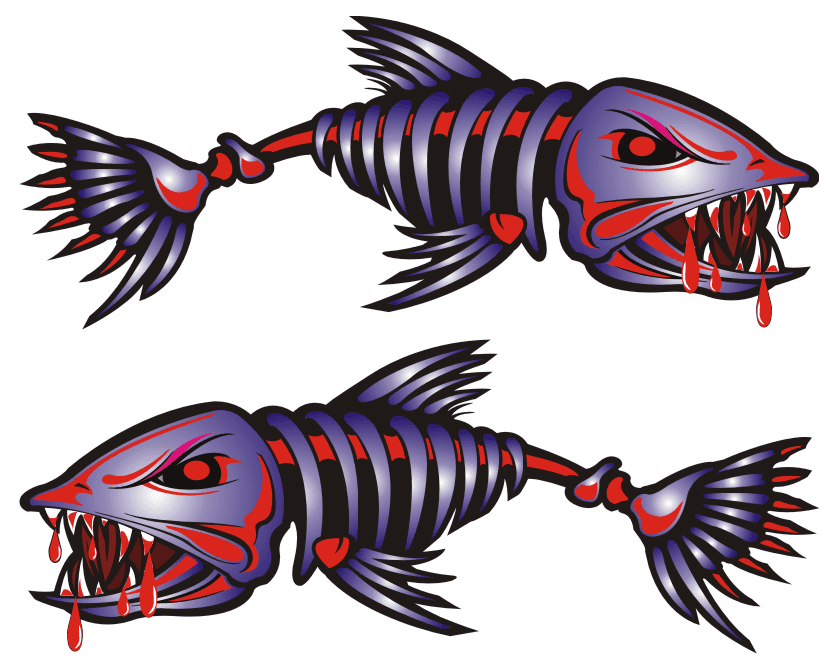Red Blue Bad Ass Fish Stickers